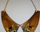 Bronze faux leather vintage kitten collar necklace