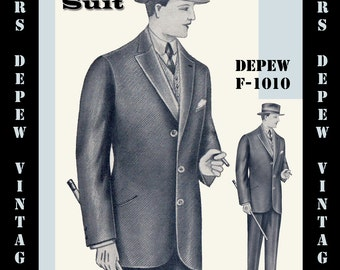 Menswear Vintage Sewing Pattern 1930's Men's Suit Coat and Trousers in Any Size Depew F-1010 - Plus Size Included -INSTANT DOWNLOAD-