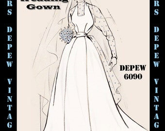 Vintage Sewing Pattern 1950's Wedding Gown in 2 Versions in Any Size - PLUS Size Included - Depew 6090 -INSTANT DOWNLOAD-