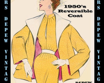 Vintage Sewing Pattern 1950's Jacket in Any Size - PLUS Size Included - Depew 6459 -INSTANT DOWNLOAD-