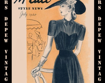 Vintage Pattern Catalog Booklet McCall Style News July 1940 PDF -INSTANT DOWNLOAD-