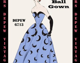 Vintage Sewing Pattern 1950's Evening Ball Gown in Any Size - PLUS Size Included - Depew 6713 -INSTANT DOWNLOAD-