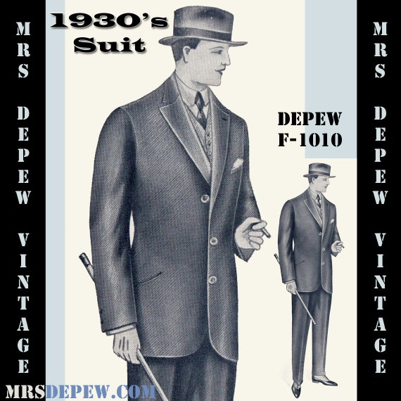 Men's Vintage Reproduction Sewing Patterns 1930s Mens Suit Coat and Trousers in Any Size Depew F-1010 - Plus Size Included -INSTANT DOWNLOAD- $9.50 AT vintagedancer.com