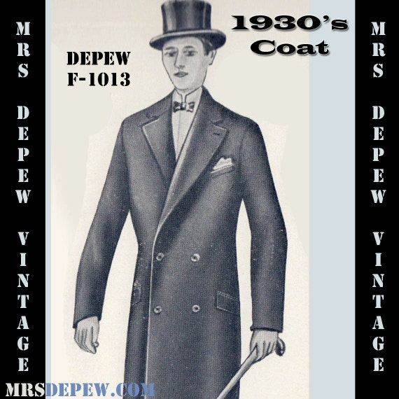 Men's Vintage Reproduction Sewing Patterns 1930s Mens Double Breasted Coat in Any Size- Plus Size Included- Depew F-1013 -INSTANT DOWNLOAD- $8.50 AT vintagedancer.com