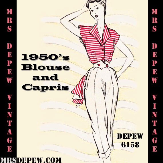 1950s Style Pants | Pinup Capri | High Waist Jeans 1950s Capris and Blouse in Any Size - PLUS Size Included - Depew 6158 -INSTANT DOWNLOAD- $8.50 AT vintagedancer.com