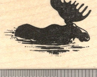Bull Moose wading through water Rubber Stamp, Silhouette E20611 Wood Mounted