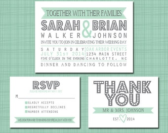 Printable Wedding Suite Invitation RSVP Thank You Set - Printable Modern Wedding Invitation Set DIY Pick Your Colors