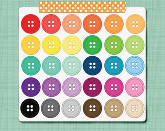 Button Clip Art Images Sewing Digital Clip Art Scrapbooking Elements - Personal and Commercial Use INSTANT DOWNLOAD