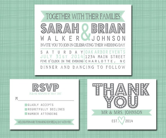 Rsvp To Wedding Invitation Wording: Printable Wedding Suite Invitation RSVP Thank You Set