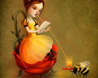Queen Bee 8X10 Print | love letter fairy  print honey bee art children's art children's illustration - by Lisa Falzon