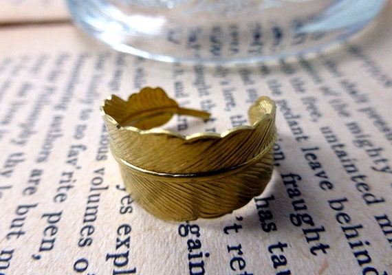 Poetic Quill Feather Wrap Cocktail Ring - Writer's Pen Quill Brass Ring