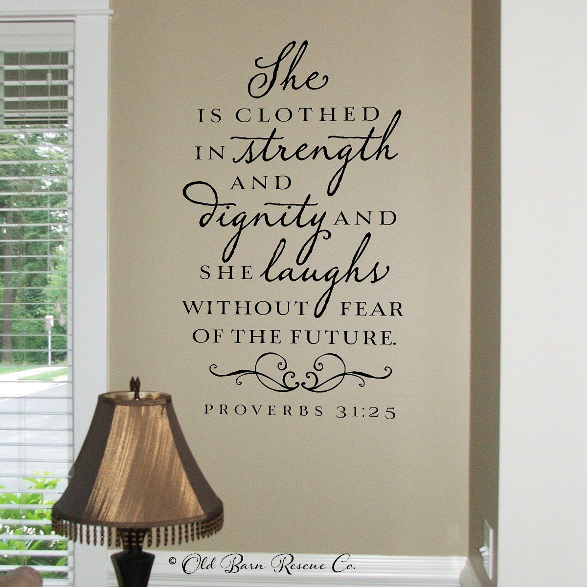 Dignity Wall: She Is Clothed In Strength And Dignity Wall Decal Christian
