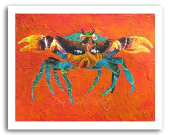 "Maryland Seafood Blue Crab Art ""Angry Crab"" Prints Signed and Numbered"