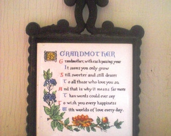 Sammyro Black Iron Trivet with Grandmother Poem on Tile