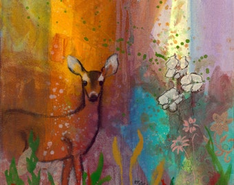 Sun Deer fine art print easy to frame with white border