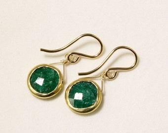 Genuine Emerald Earrings Green Emerald Earrings 18k Gold Earring May Birthstone Precious Gemstone Earring Emerald Jewelry BZ-E-105-Em/g