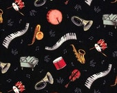 Musical Instruments Multicolored on Black Fabric 1 yard