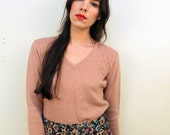 1970s Blush Pink Floral Sweater Size S