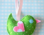 Green and Pink Lavender filled Hanging Bird Decoration