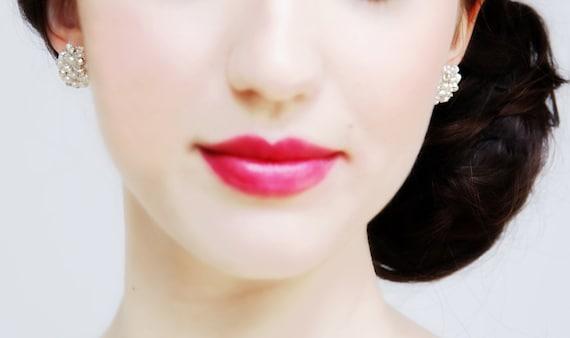 Bridal Tiny Freshwater Pearl, Crystal and Rhinestone Stud Earrings