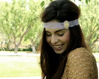Large Lavender Rose Cameo Lace Headband