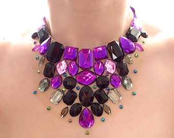 Rhinestone Illusion Necklace, Purple and Black Statement Necklace, Discount Statement Necklace, On Sale Necklace, Floating Bib Necklace