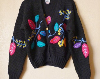 vintage embroidered black cardigan