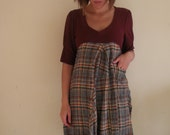 S recycled dress for women in autumn plaid - small