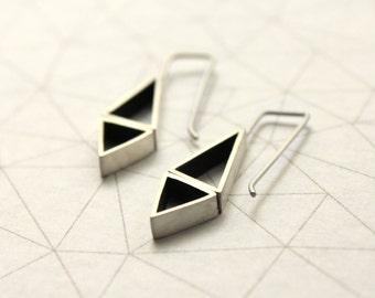 Opposite Triangles Earrings - Sterling Silver