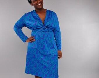 Vintage XL Surplice Wrap Dress // Blue Paisley Print // Plus Size 80's Dress