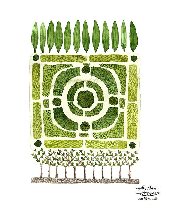 knot garden no. 1 watercolor reproduction print