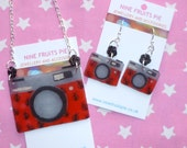 Say Cheese - Red, black and grey hand drawn shrink plastic camera set (earrings and necklace)