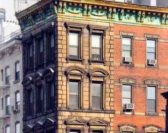 Old building, New York City, Weathered, Charming Windows, Architectural Beauty, Signed photography print, various sizes, Free Shipping