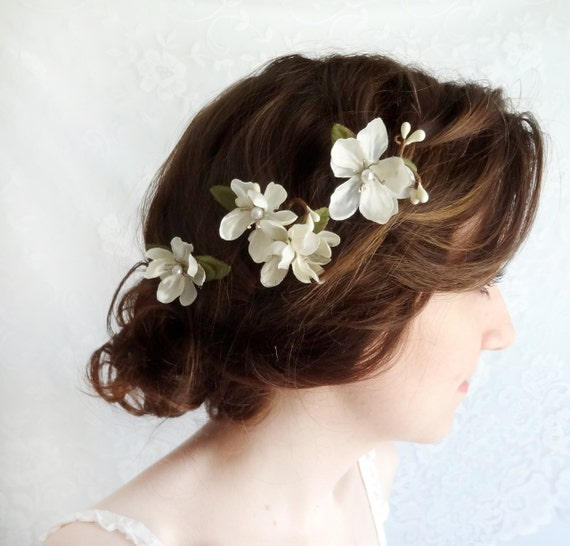 Bridal Hair With Pins : Off white flower hair bridal accessories by