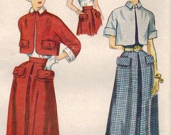 1950s Simplicity 3141 Vintage Sewing Pattern Junior Misses Bolero, Skirt, Blouse Size 11 Bust 29