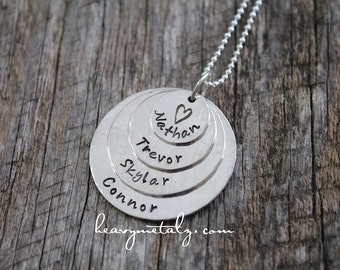 4 Stack -- Four Disc Hand Stamped Sterling Silver Name Tag Necklace