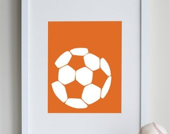 Soccer Art Print, 8 x 10 sports room decor - available in different sizes and colors