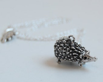 Large Silver Hedgehog Necklace | Cute Hedgehog Charm Necklace | Forest Hedgehog Necklace | SALE!