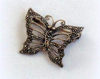 Marcasite Butterfly Scatter Pin Brooch Sterling Silver 925 DBJ