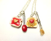 Strawberry Jam Peanut Butter Best Friend Necklaces, Miniature Food Jewelry, Polymer Clay Food Jewelry , BFF