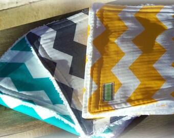 Chevron Burp Trio--Sale  Chenille Chevron Burp cloths
