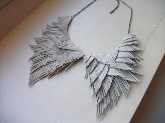 Beige Suede Collar Fringe Necklace