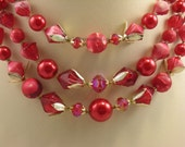 Red & Pink Necklace and Earrings Set Vintage Multi Strand Beads Hong Kong 1950s - bctreasuretrove