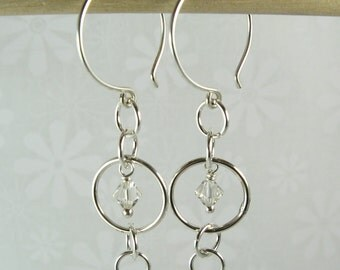 MYSTIC EARRINGS, with crystals, sterling silver large and small circles earrings