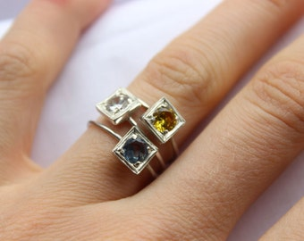 Birthstone Stacking rings, Sterling silver, Made to order, Custom Ring, Choose three Gemstone, Lab created gems