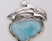 Dolphin blue-green pendant, symbolic pendant, ocean life pendant with larimar, one of a kind
