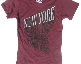Womans New York Tshirt in Maroon Red