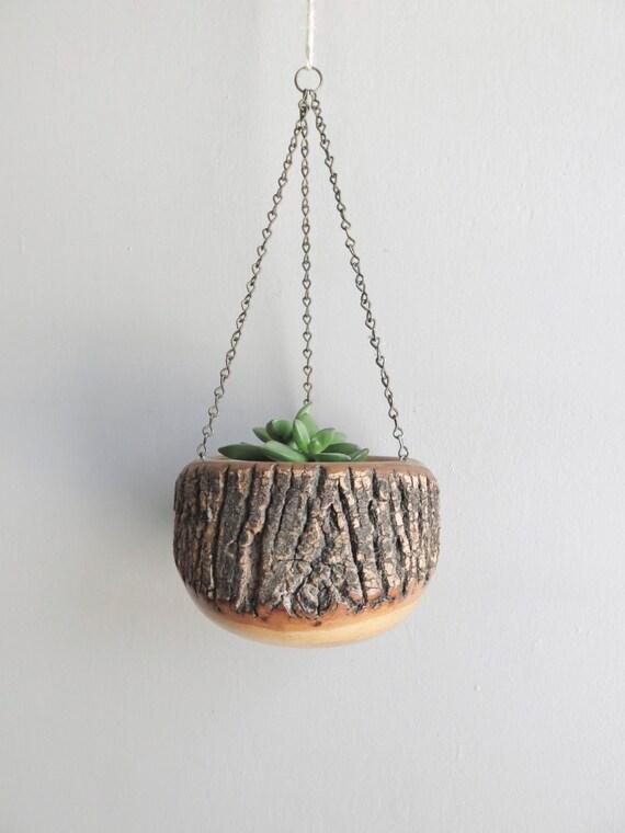 vintage wooden hanging planter