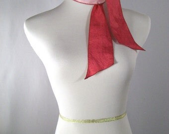Two Toned Ponytail Scarf - Reversible Headband - Necktie - Custom Made to Order  - Pink Hot Pink Multicolor  - Silky Satin