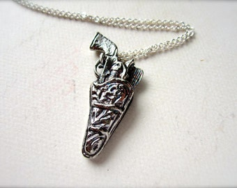 Holster Yer Weapon Necklace - silver gun necklace, gun in holster necklace, cowboy necklace, gun holster charm necklace